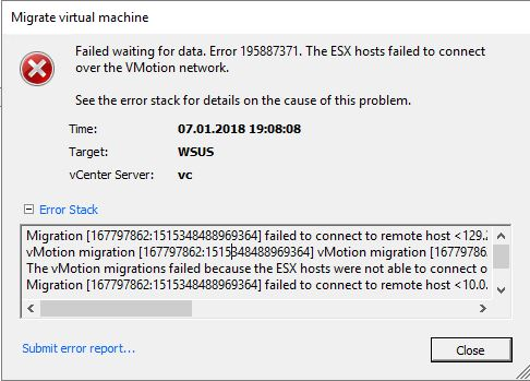 vMotion fails at 21% with error 195887371